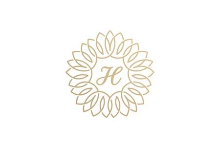Bloei Vintage lineaire cirkel monogram Logo vector ontwerpsjabloon. Luxe mode Floral logo heraldische concept pictogram. Stock Illustratie