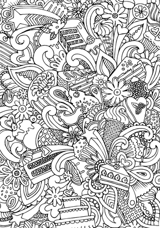 Engraving vintage hand drawn vector bakery products doodle collage. Pencil Sketch cookies and croissant illustration. Illustration