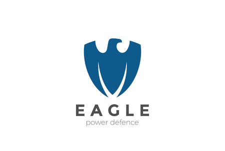 Eagle shield shape Logo design vector template.  Defense Power Security Guard Logotype concept symbol icon