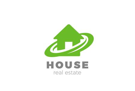 Eco House abstract Logo Real Estate agency design vector template.  Building Construction company Logotype concept icon