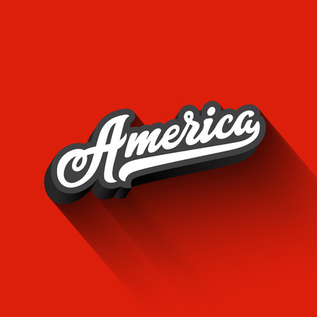 America text Calligraphy Vintage Retro Lettering vector design.  Typography 3D Poster Banner Card template