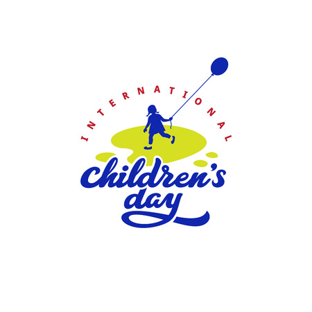 Childrens day Calligraphy Lettering vector design.  Typography Poster Banner Card template Illustration