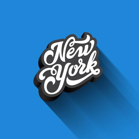 Caligrafía del texto de Nueva York Diseño retro del vector de las letras del vintage. Plantilla de la tarjeta de la bandera de la tipografía 3D Foto de archivo - 80177592