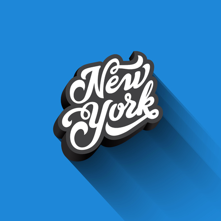 New York text Calligraphy Vintage Retro Lettering vector design.  Typography 3D Poster Banner Card template Illustration