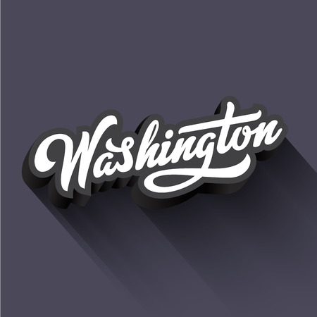 Washington text Calligraphy Vintage Retro Lettering vector design.  Typography 3D Poster Banner Card template
