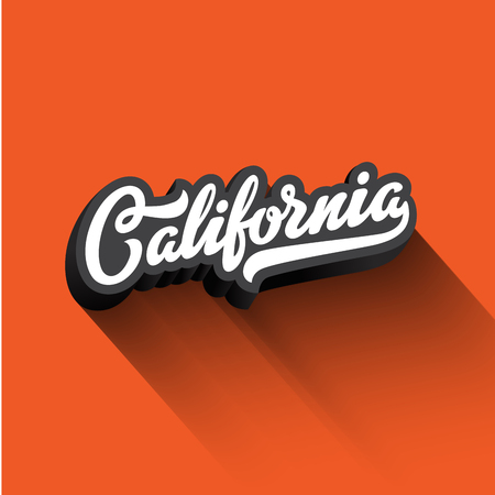 geographical: California text Calligraphy Vintage Retro Lettering vector design.  Typography 3D Poster Banner Card template