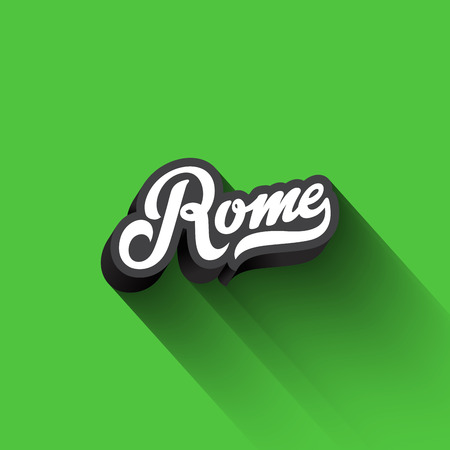 Rome text Calligraphy Vintage Retro Lettering vector design.  Typography 3D Poster Banner Card template