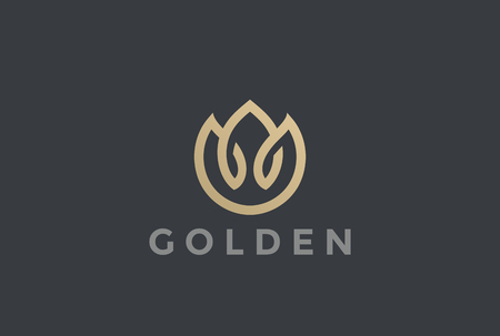 Gold Flower abstract Logo design vector template Linear style.  Fashion Jewelry Plant Logotype concept icon