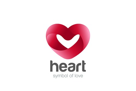 Heart ribbon shape Logo design vector template.