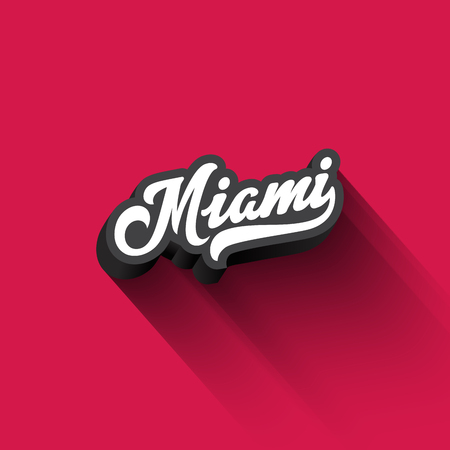 Miami text Calligraphy Vintage Retro Lettering vector design.  Typography 3D Poster Banner Card template