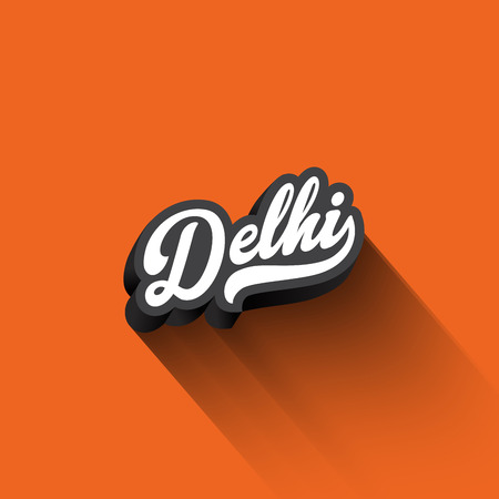 Delhi text Calligraphy Vintage Retro Lettering vector design.  Typography 3D Poster Banner Card template
