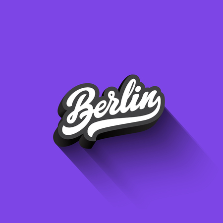 Berlin text Calligraphy Vintage Retro Lettering vector design. Typography 3D Poster Banner Card template Stok Fotoğraf - 80177445