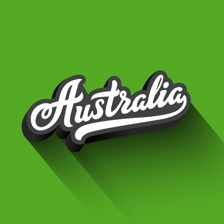 Australia text Calligraphy Vintage Retro Lettering vector design.  Typography 3D Poster Banner Card template 向量圖像