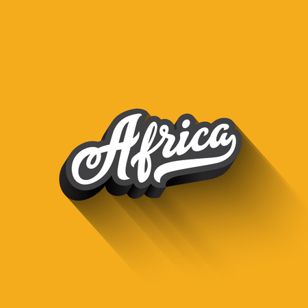 Africa text Calligraphy Vintage Retro Lettering vector design.  Typography 3D Poster Banner Card template