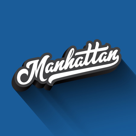Manhattan text Calligraphy Vintage Retro Lettering vector design.  Typography 3D Poster Banner Card template