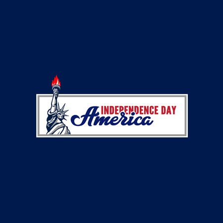 Independence Day of America Calligraphy Lettering vector design.  Typography Poster Banner Card template. Liberty statue