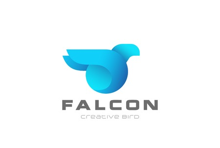 Blue Bird abstract Logo geometric design vector template. Falcon Eagle Logotype concept icon