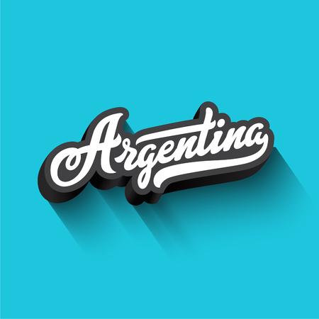 아르헨티나 텍스트 서 예 빈티지 레트로 편지 레터링 벡터 디자인입니다. Typography 3D 포스터 배너 카드 템플릿