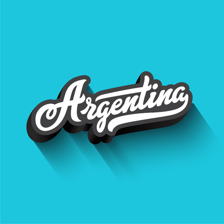 Argentina text Calligraphy Vintage Retro Lettering vector design.  Typography 3D Poster Banner Card template