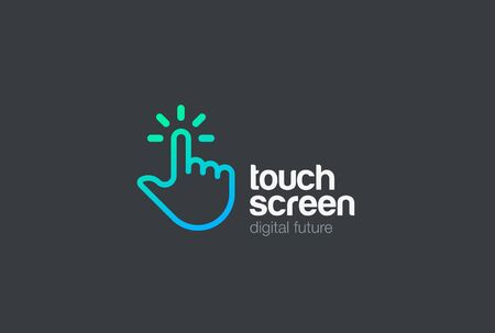 touch screen interface: Hand Finger Touch screen technology Logo design vector template Linear style.  Mobile Touchscreen palm digital tech Logotype concept icon
