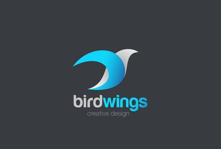 Flying Bird abstract Logo design vector template. Blue Dove Pigeon Falcon Eagle Logotype concept icon