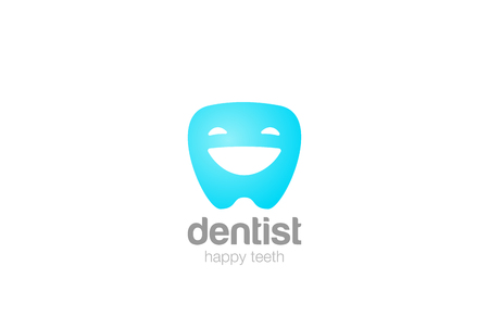 cleanliness: Friendly Dentist dental clinic Logo design vector template.  Happy smiling Tooth Dent character abstract Logotype concept icon