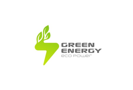 Green Energy Flash Logo design vector template.  Lighting bolt power with Leaves Logotype concept icon