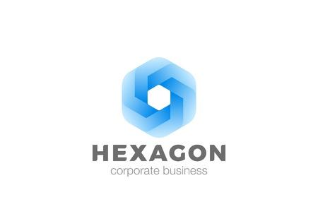 六角形の形状は、企業ロゴのインフィニティ デザイン ベクトル テンプレートを抽象化します。  ビジネス ファイナンス ・ テクノロジー普遍的な幾