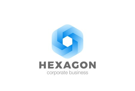 Hexagon shape abstract corporate Logo infinity design vector template.  Business Finance Technology universal geometric Logotype concept icon
