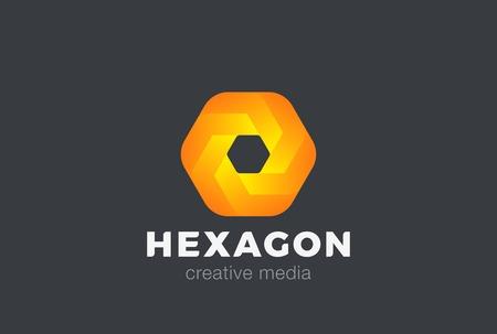 Hexagon geometric abstract Logo infinity design vector template.  Media Game Logotype concept icon