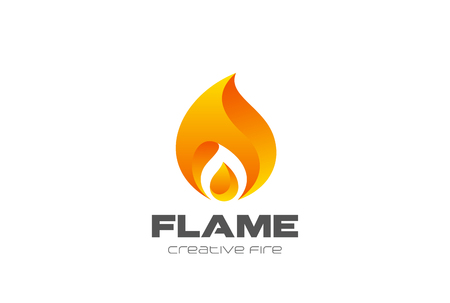 Burning Fire flame Logo design vector template