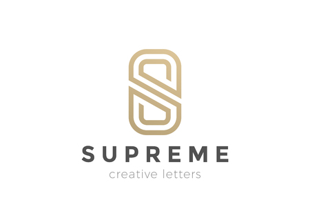 S letter Luxury abstract Logo design vector template. Gold linear Logotype monogram icon