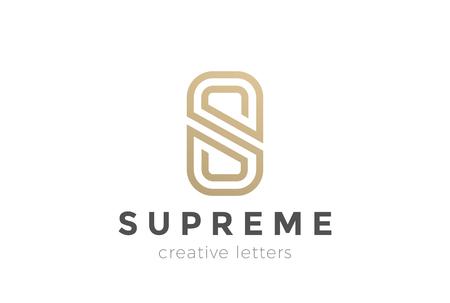S 文字高級抽象的なロゴ デザイン ベクトル テンプレートです。  ゴールドの線形ロゴ モノグラム アイコン  イラスト・ベクター素材