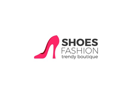 Shoe Logo silhouette design vector template.  Shoes shop store logotype concept icon Illustration