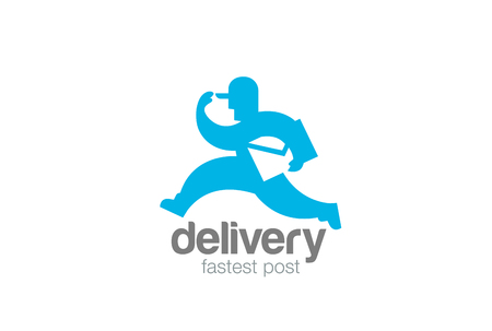 Delivery running man with envelope design template Illustration