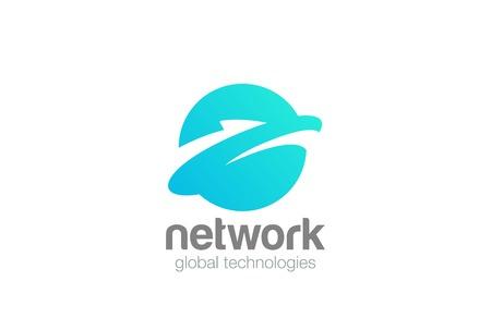 グローバル データ地球デザイン テンプレート  イラスト・ベクター素材