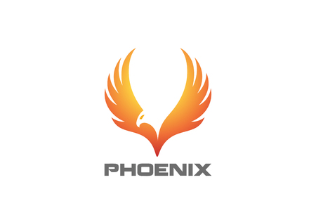 Phoenix rising Wings  design template. Vettoriali