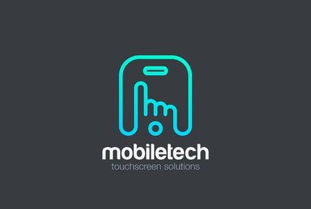 Finger press touch screen of Mobile phone design template Ilustração