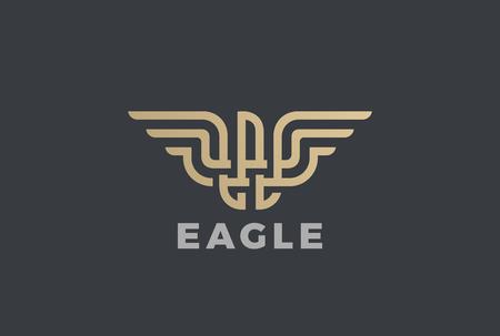 Gouden adelaar ontwerpsjabloon in geometrische embleem.