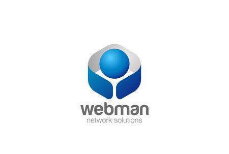 Digital Man character design template in a Hexagon shape.