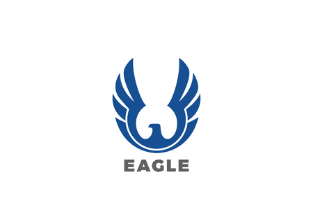 Eagle rising Wings Logo design vector template.