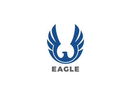 Eagle rising Wings Logo design vector template. Luxury corporate heraldic Falcon Phoenix Hawk bird Logotype concept icon Illustration