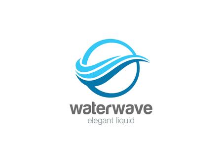 エレガントなウェーブ サークル抽象的なロゴ デザイン ベクトル テンプレートです。  水波状ライン ロゴ コンセプト アイコン  イラスト・ベクター素材