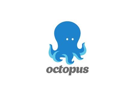 優しい面白いタコ ロゴ デザイン ベクトル テンプレート