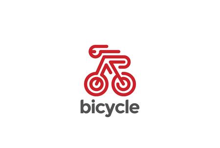 自転車自転車スポーツのロゴマーク デザイン ベクトル テンプレート直線的なスタイルです。  創造的なロゴタイプ ライダーの乗ってコンセプト ア