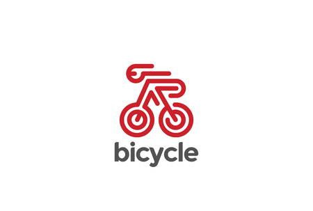 Bike Bicycle Sport Logo design vector template Linear style.  Creative Riding Logotype Rider concept icon