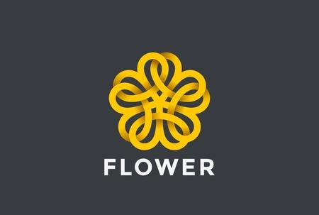 Bloem abstract Logo ontwerp vector sjabloon Oneindige vorm. Vijfpuntige ster Looped Logotype oneindigheid pictogram. Lineaire stijl