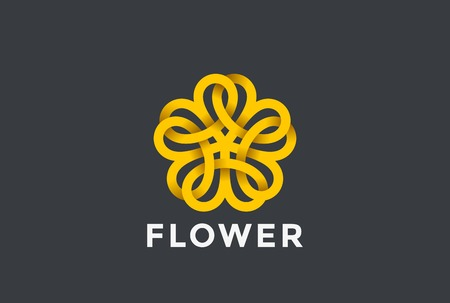 Flower abstract Logo design vector template Infinite shape. Five point star Looped Logotype infinity icon. Linear style Vettoriali