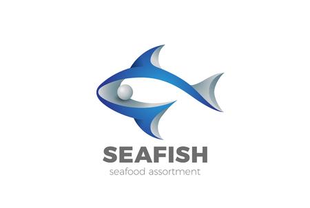 Siluetta astratta di pesce Modello di vettore di progettazione di logo. Icona del concetto di logo del negozio di pesce ristorante Archivio Fotografico - 84928458