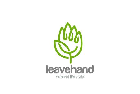 緑の葉のロゴ デザイン ベクトル テンプレート直線的なスタイルのエコ手。創造的な生態パーム シンボルロゴ コンセプト アイコン  イラスト・ベクター素材